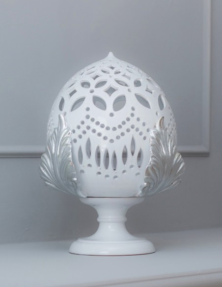 lampada da salone pumo in ceramica stile barocco moderno argento Caminari