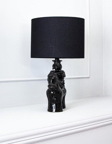 lampada in ceramica luxury nero lucido cavallo Caminari